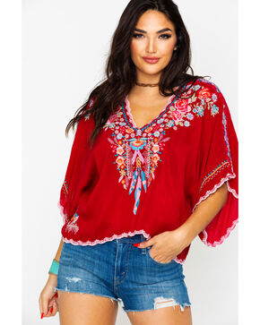 Johnny Was Women's Klarah Top , Ruby, hi-res