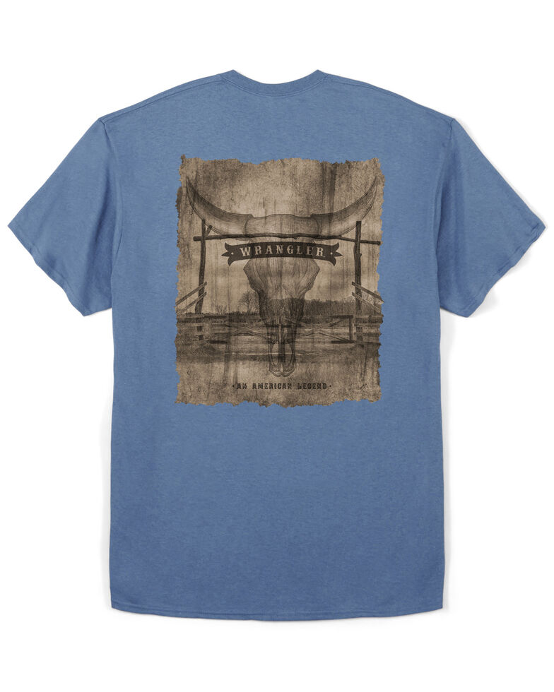 Wrangler Men's Blue Slate Banner Skull Graphic T-Shirt , Blue, hi-res