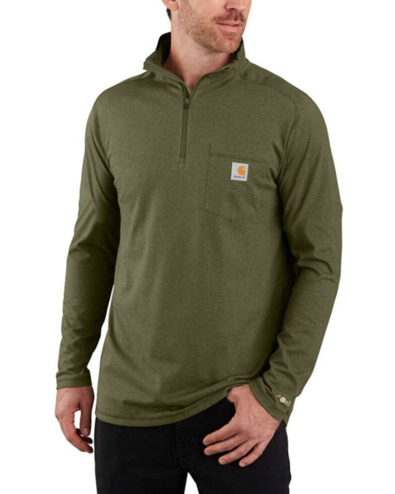 Carhartt Men's Force Relaxed Fit Quarter Zip Pullover , Moss Green, hi-res