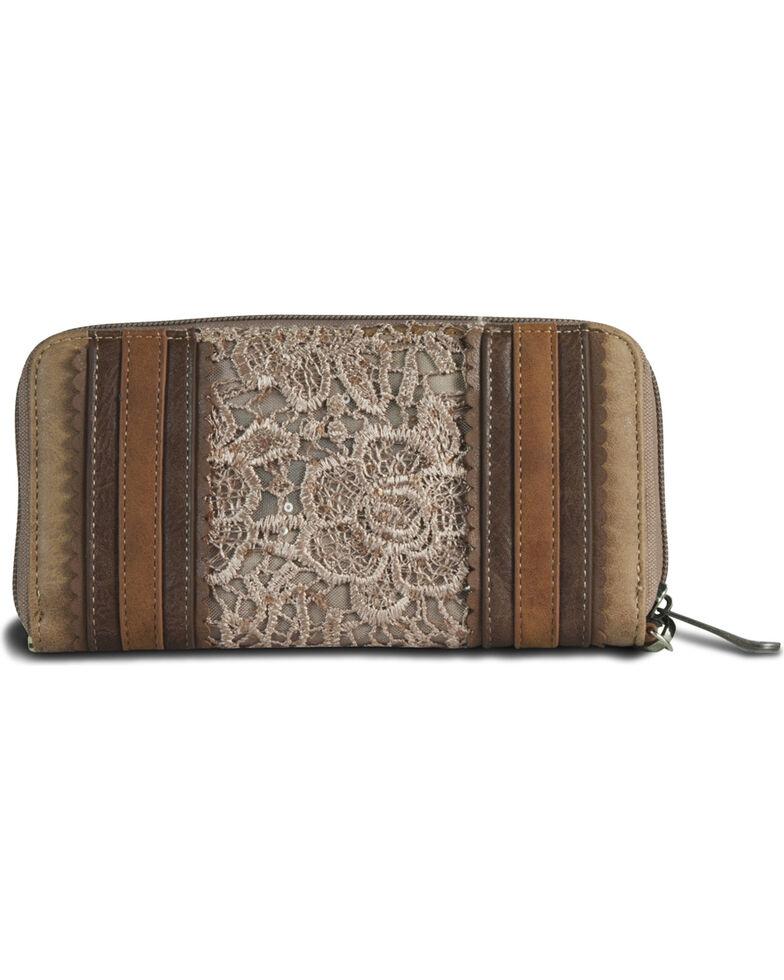 Justin Women's Lace Concho Zip Closure Wallet, Tan, hi-res
