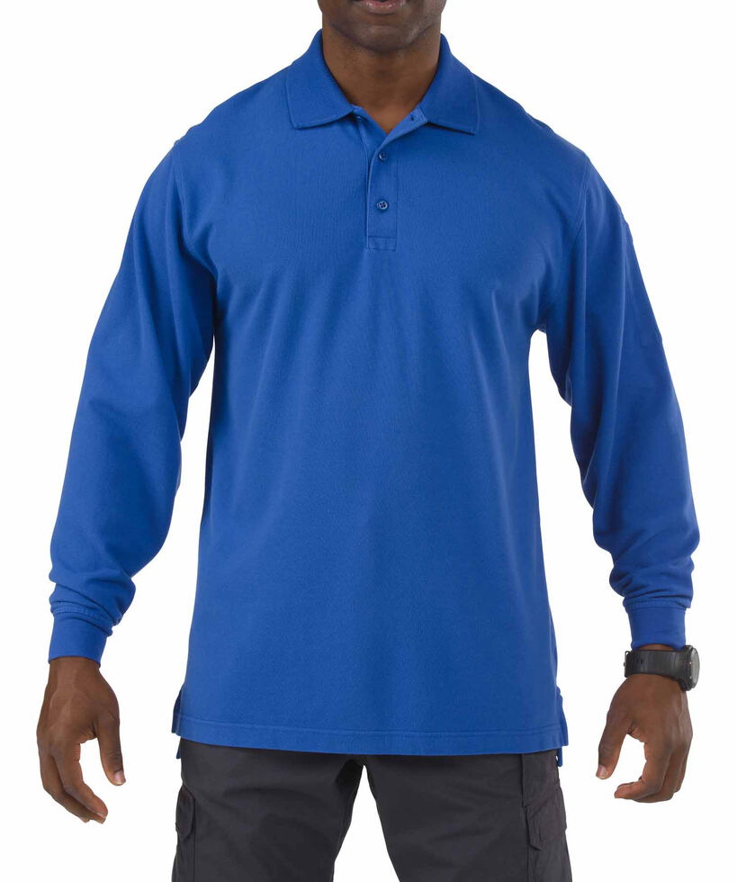 5.11 Tactical Professional Long Sleeve Polo Shirt - 3XL, Blue, hi-res