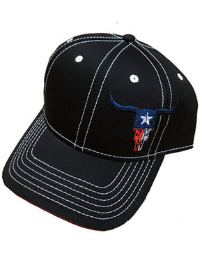 Cowboy Hardware Texas Skull Ball Cap , Black, hi-res