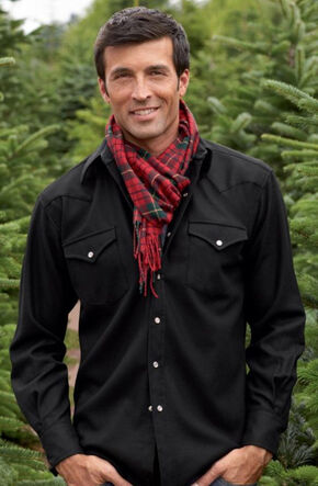 Pendleton Men's Western Wear Wool Canyon Flannel Shirt , Black, hi-res