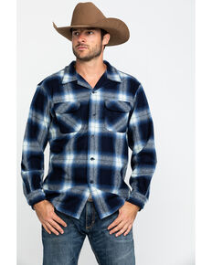 Pendleton Men's Navy Board Oxford Plaid Long Sleeve Western Shirt , Navy, hi-res
