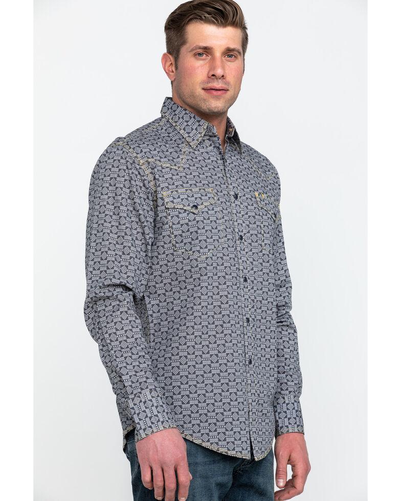 Tin Haul Men's Metal Logo Print Long Sleeve Western Shirt , Grey, hi-res