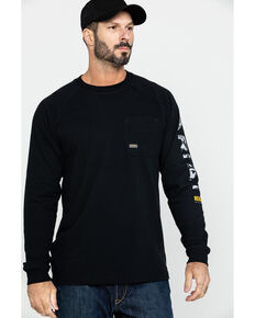 Ariat Men's Black Rebar Cotton Strong Graphic Long Sleeve Work Shirt - Big & Tall , Black, hi-res