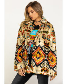 Free People Women's Carmella Faux Fur Aztec Print Jacket, Multi, hi-res