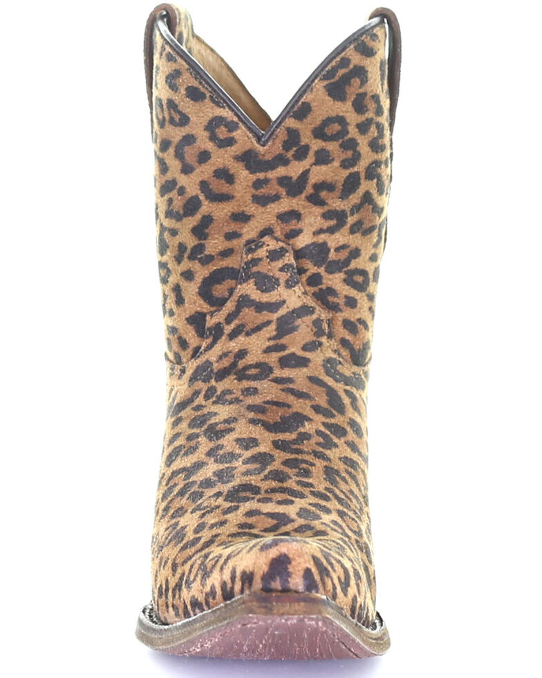 Corral Girls' Leopard Print Ankle Western Boots - Round Toe, Leopard, hi-res