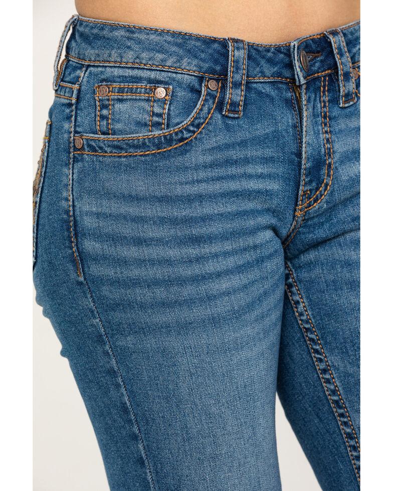 Shyanne Women's Medium 3D Floral Bootcut Jeans, Blue, hi-res