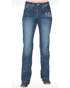 Cowgirl Tuff Women's Fly High Bootcut Jeans , Blue, hi-res
