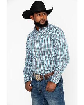 Ariat Men's Valencia Plaid Long Sleeve Western Shirt , White, hi-res