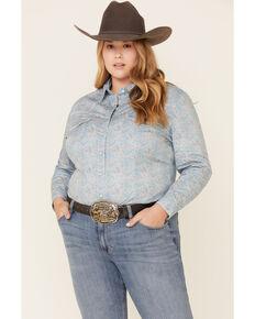 Rough Stock by Panhandle Women's Blue Vintage Print Snap Long Sleeve Western Shirt - Plus, Blue, hi-res