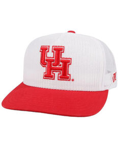 HOOey Men's Red & White University Of Houston Logo Mesh Trucker Cap  , White, hi-res