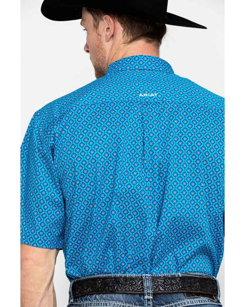 Ariat Men's Sparrow Stretch Geo Print Short Sleeve Western Shirt - Tall, Turquoise, hi-res