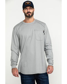 Hawx® Men's Grey FR Pocket Long Sleeve Work T-Shirt - Tall , Silver, hi-res