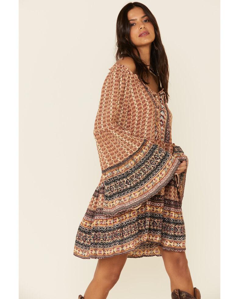Angie Women's Tan Bell Sleeves Aztec Print Dress, Tan, hi-res