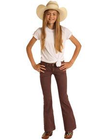 Rock & Roll Denim Girls' Dusty Palm Extra Stretch Trouser Jeans , Mauve, hi-res
