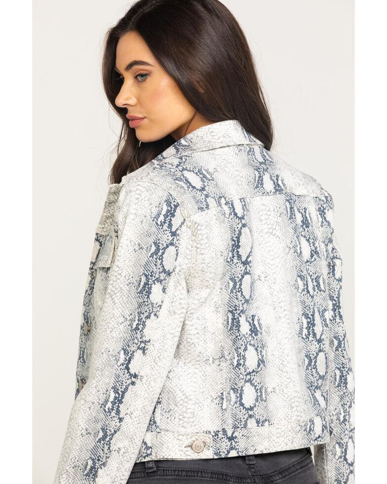 Shyanne Women's Python Print Denim Trucker Jacket, White, hi-res