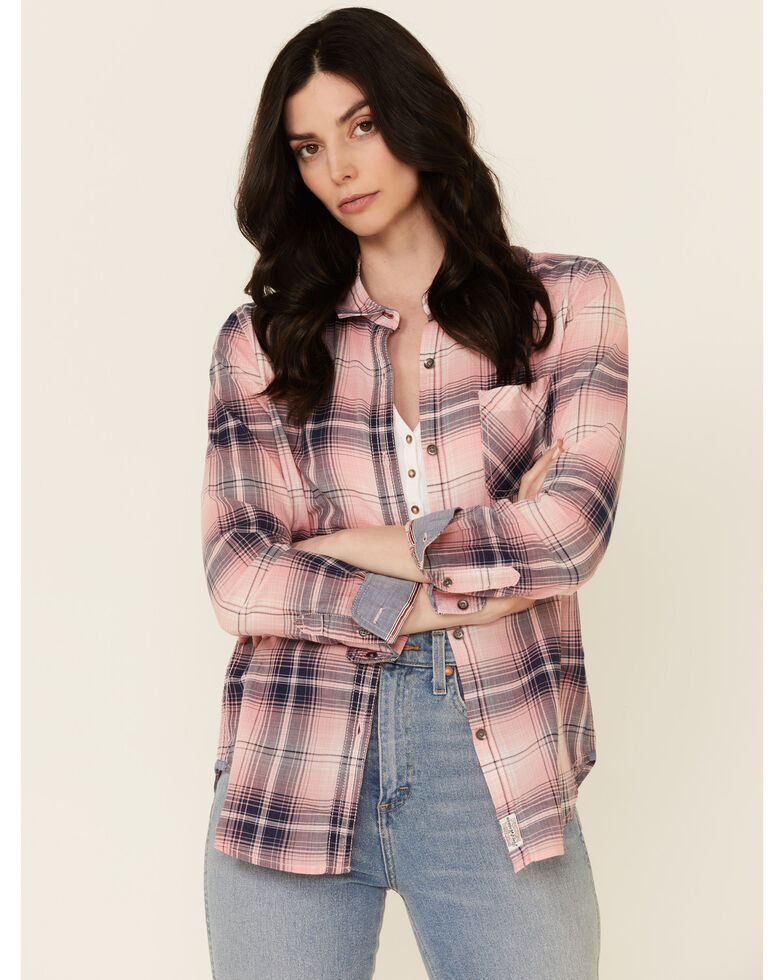 Flag & Anthem Women's Pink Chelsea Plaid Long Sleeve Button-Down Western Core Shirt , Pink, hi-res