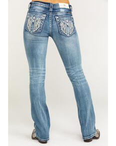 "Miss Me Women's Light Faux Flap Wing 32"" Bootcut Jeans , Blue, hi-res"
