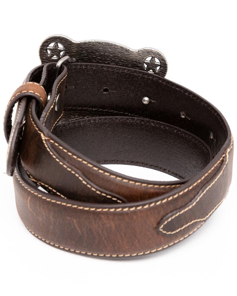 Cody James Boys' Brown Longhorn Rectangular Western Buckle Belt , , hi-res