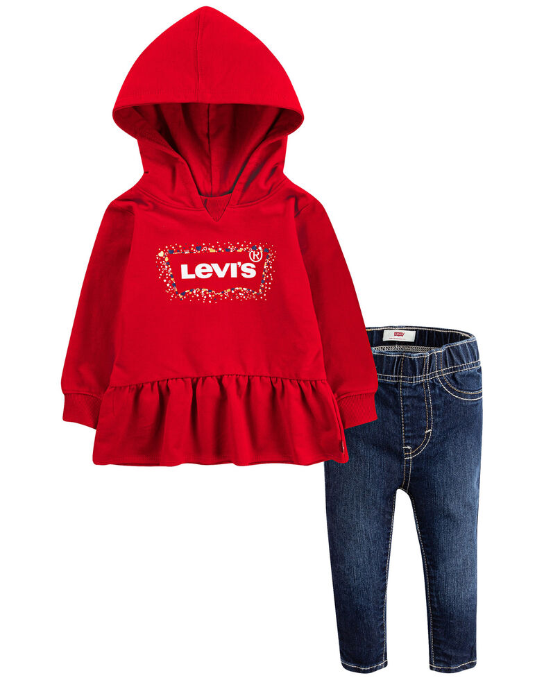 Levi's Infant Girls' Red Peplum Logo Pullover Hoodie & Jean Set , Red, hi-res