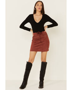Rock & Roll Denim Women's Rust Suede Lace-Up Skirt, Rust Copper, hi-res
