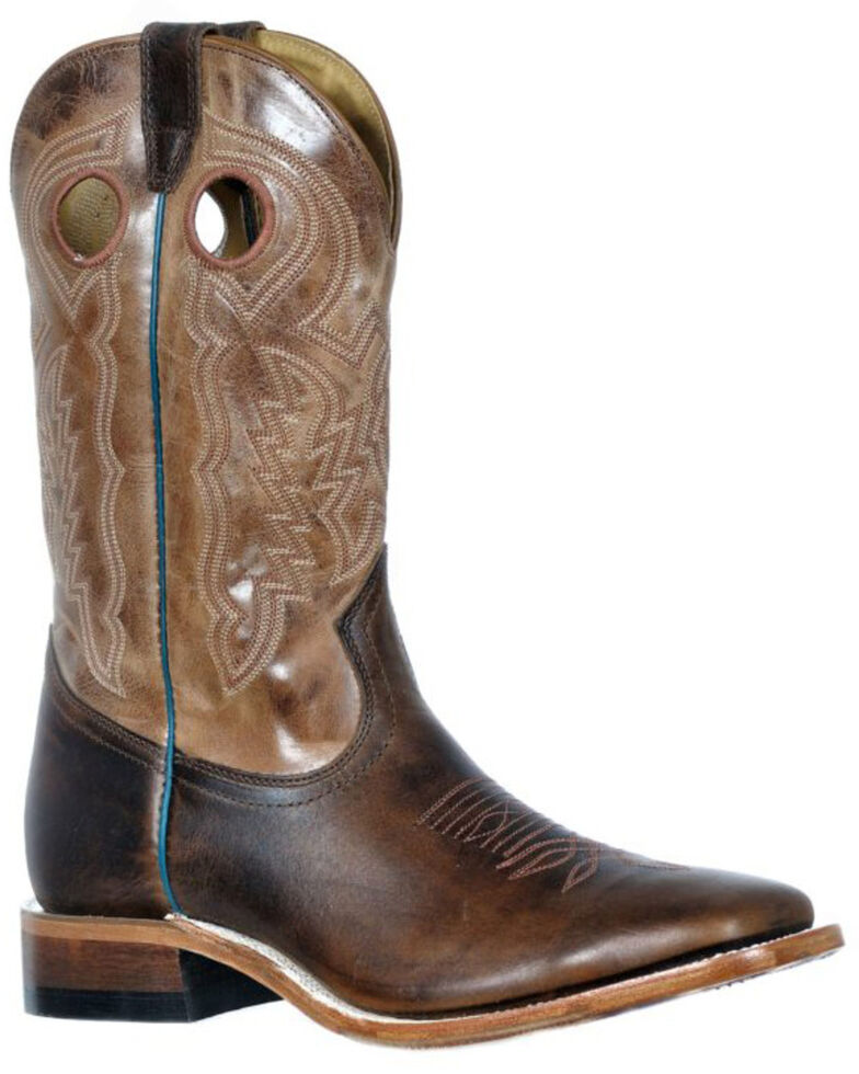 Boulet Men's Damiana Western Boots - Wide Square Toe, Brown, hi-res
