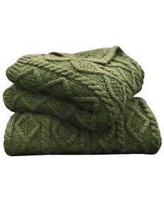 HiEnd Accents Green Cable Knit Throw Blanket, Green, hi-res