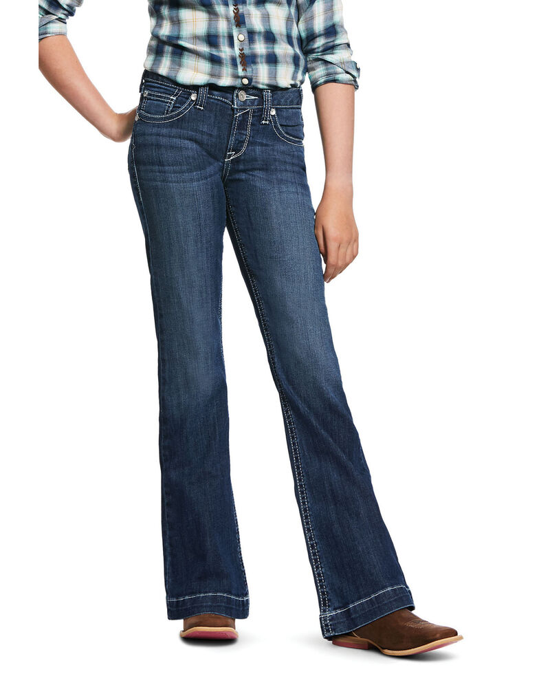 Ariat Girls' R.E.A.L Heirloom Wide Trousers, Blue, hi-res