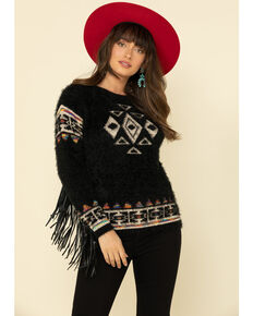 Cotton & Rye Outfitters Women's Eyelash Aztec Fringe Sweater, Black, hi-res
