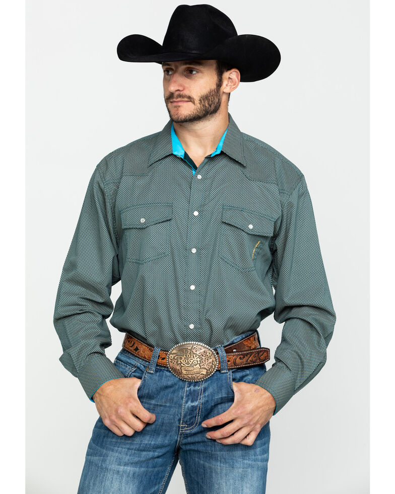 Resistol Men's Wiggins Geo Print Long Sleeve Western Shirt , Blue, hi-res