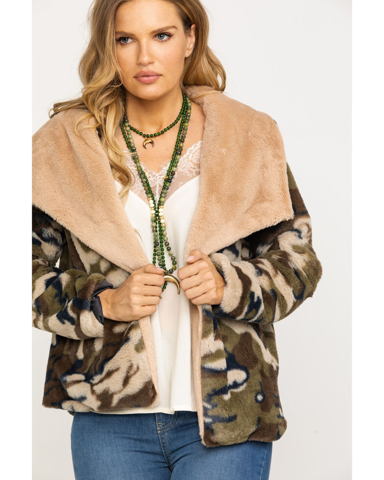 Mystree Women's Camo Fur Open Front Coat, Camouflage, hi-res