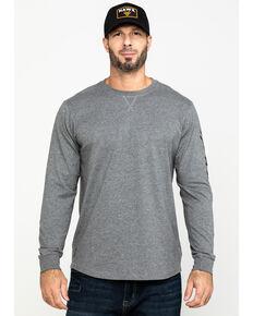 Hawx® Men's Grey Logo Sleeve Long Sleeve Work T-Shirt , Heather Grey, hi-res