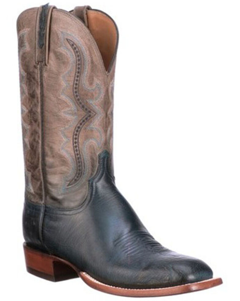 Lucchese Men's Navy Cecil Western Boots - Wide Square Toe, Navy, hi-res