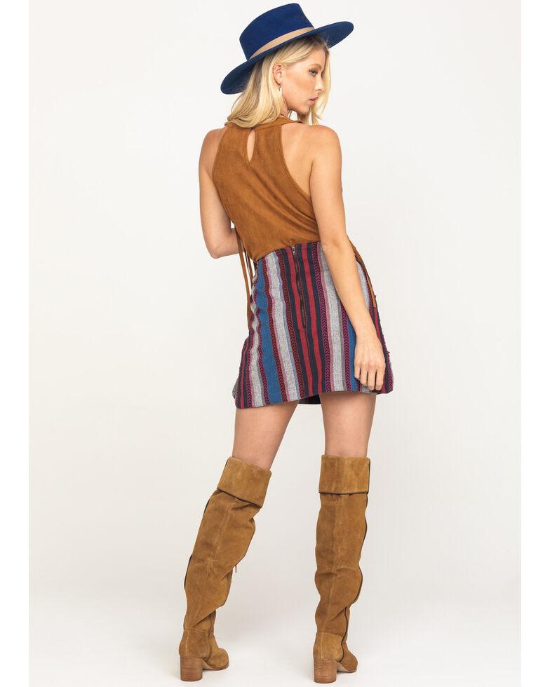 Rock & Roll Denim Women's Ombre Stripe Stud Mini Skirt , Red/white/blue, hi-res