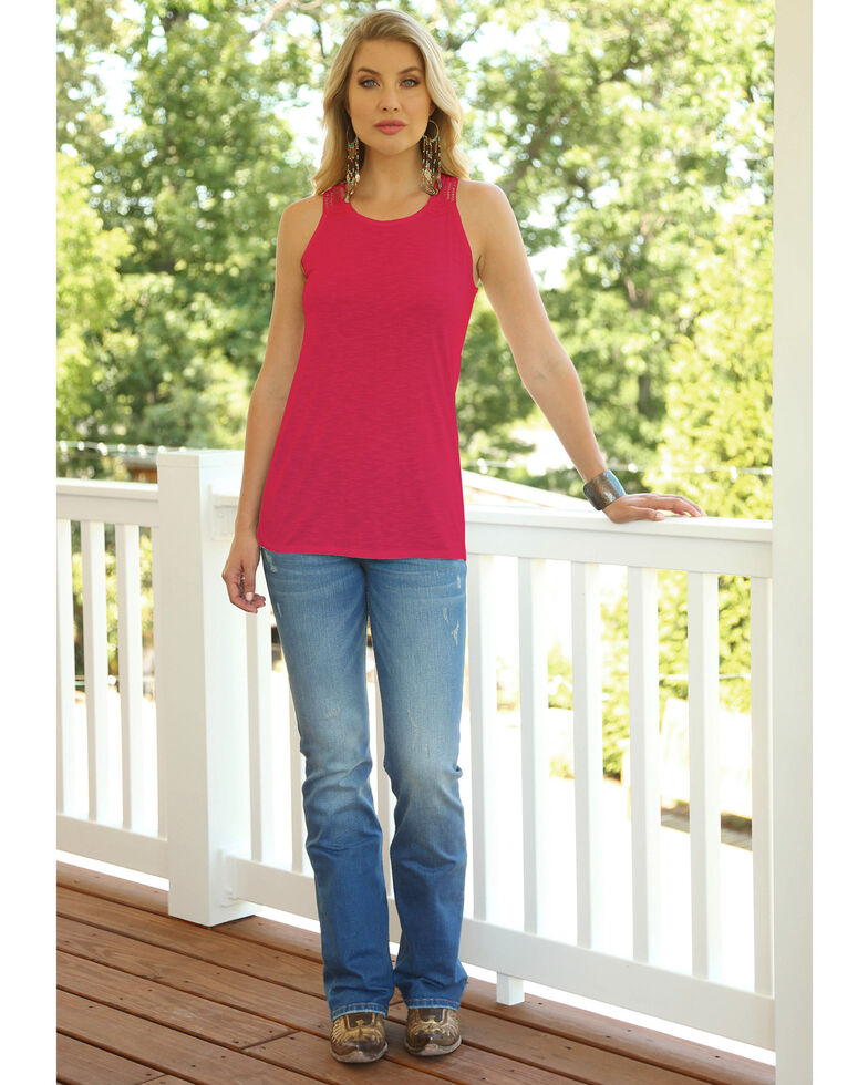 Wrangler Women's Pink Sleeveless Crotchet Trim Tank , Pink, hi-res