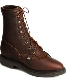 "Justin Men's Conductor 8"" Lace-Up Work Boots - Soft Toe, , hi-res"