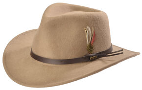 Scala Men's Putty Grey Crushable Wool Felt Outback Hat, Putty, hi-res