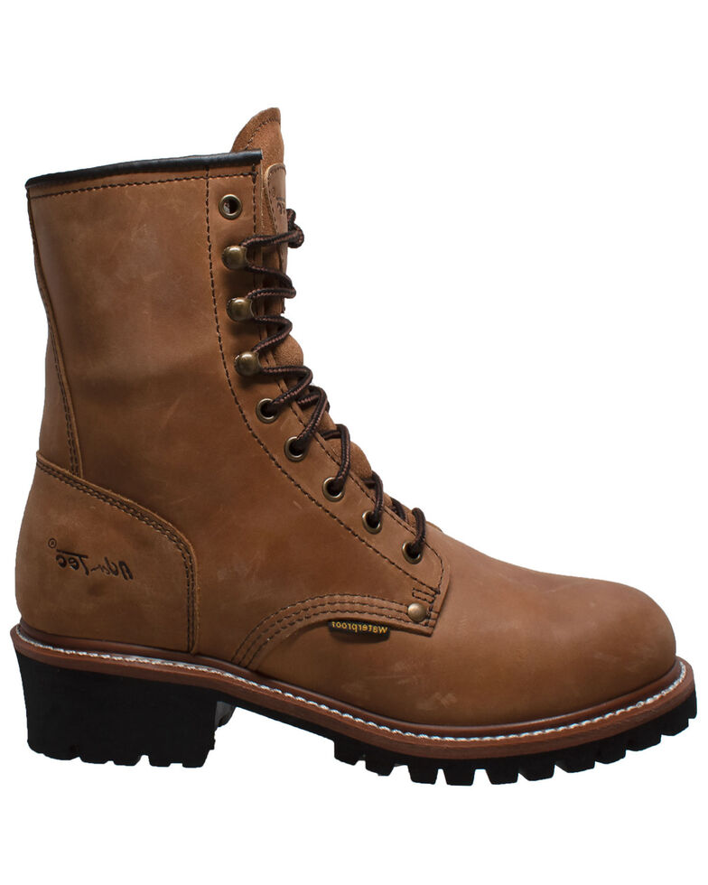 "Ad Tec Men's 9"" Waterproof Logger Work Boots - Soft Toe, Brown, hi-res"