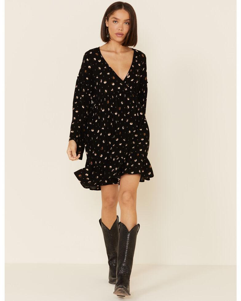 Peach Love Women's Floral Print Ruffle Trim Dress, Black, hi-res