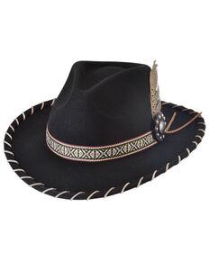 Bullhide Black Frenzy Aztec Band Premium Wool Felt Western Hat  , Black, hi-res