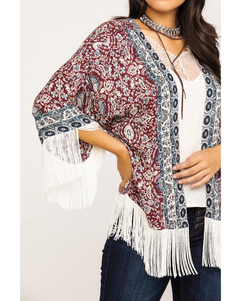 Idyllwind Women's Wild At Heart Fringe Kimono, Burgundy, hi-res
