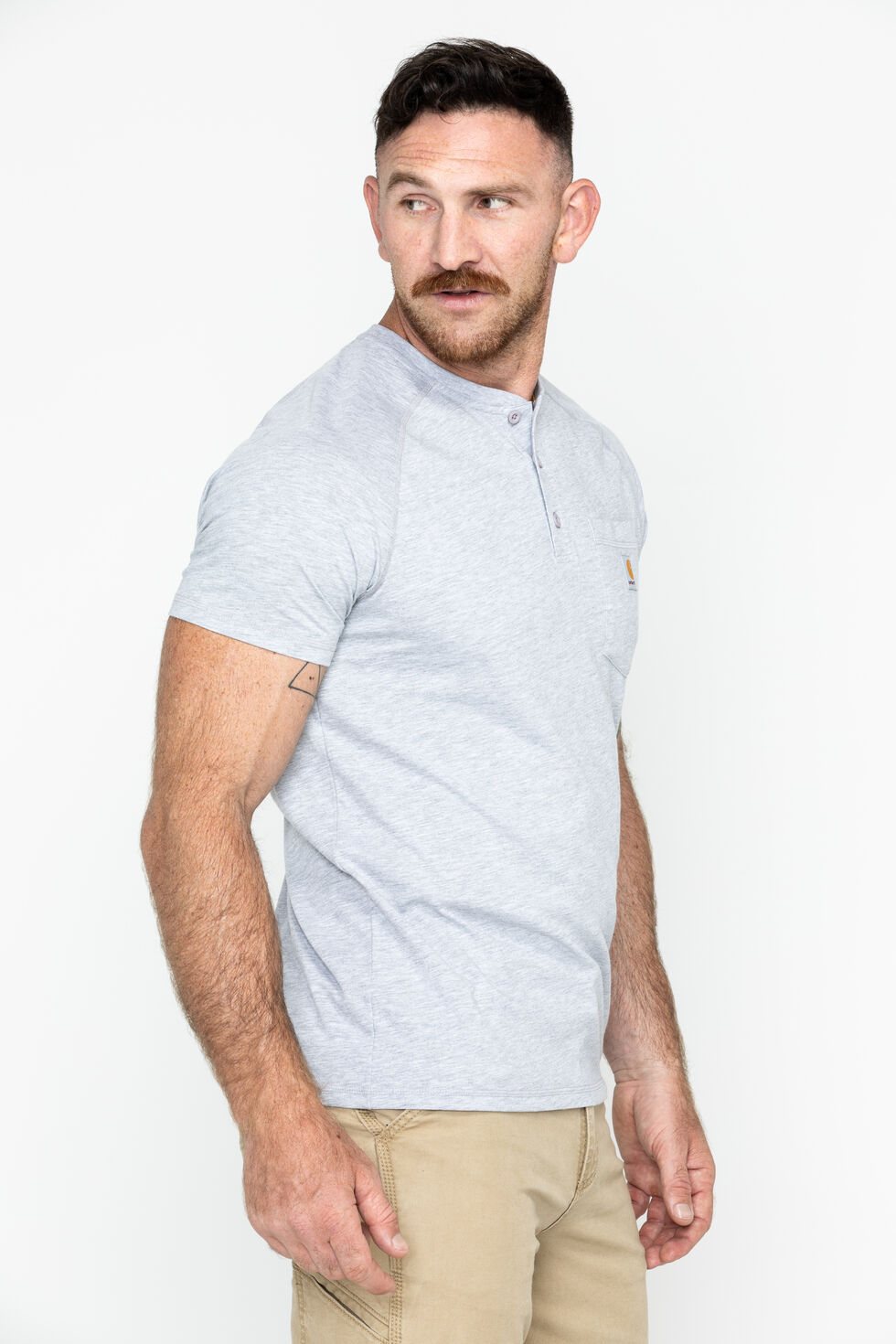 Carhartt Force Cotton Henley Shirt, Grey, hi-res
