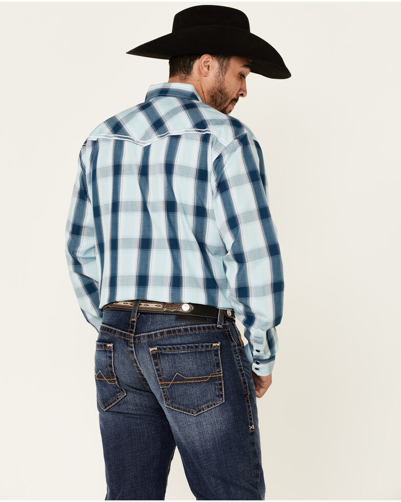 Cowboy Hardware Men's Blue Hombre Large Plaid Long Sleeve Western Shirt , Multi, hi-res