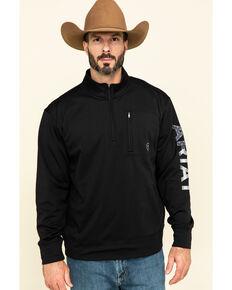 Ariat Men's Black Team Logo USA 1/4 Zip Pullover Sweatshirt , Black, hi-res