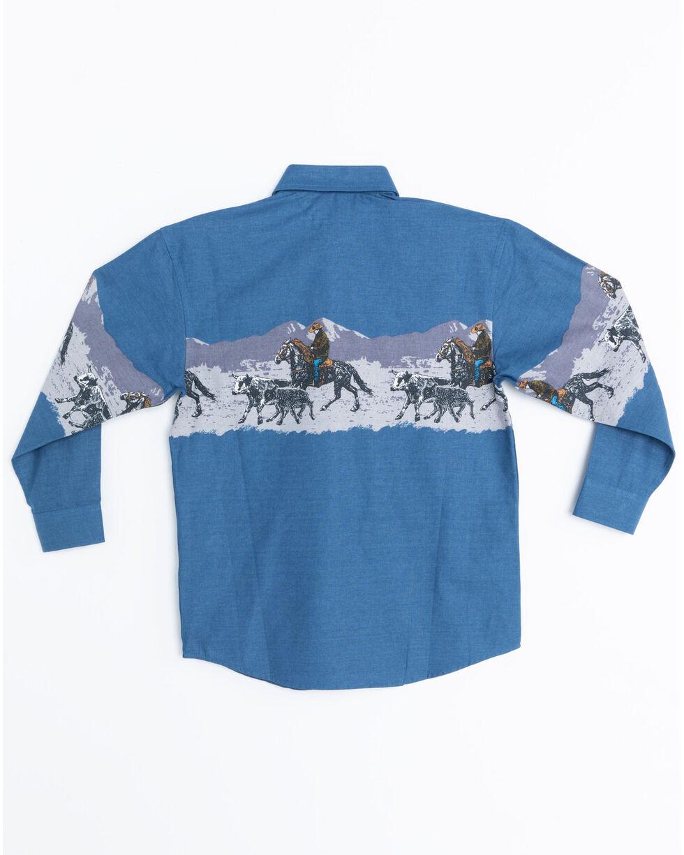 Panhandle Boys' Scenic Print Border Snap Long Sleeve Shirt , Blue, hi-res