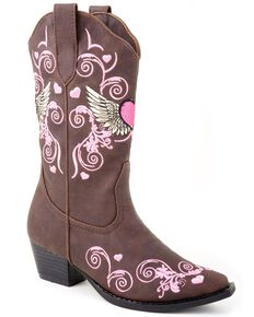 Roper Toddler Girls' Hearts & Wings Embroidered Cowgirl Boots, Brown, hi-res