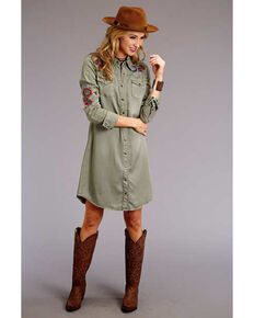 Stetson Women's Olive Embroidered T-Shirt Dress, Green, hi-res