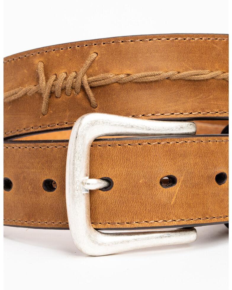 Moonshine Spirit Barbed Wire Accent Brown Belt, Brown, hi-res